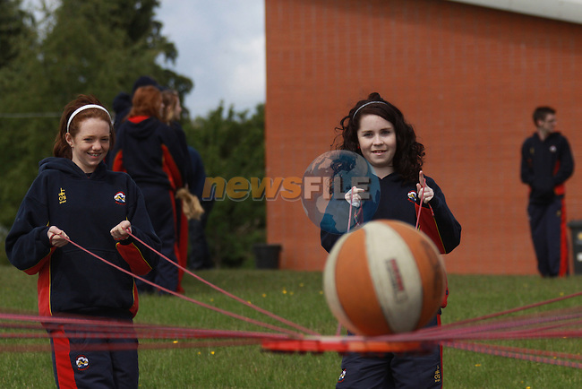 Scoil Ui Mhuiri Sports Day..Nicole Reilly and Megan Power.Photo: Fran Caffrey/www.newsfile.ie...