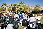 Kenta Maeda (Dodgers),<br /> FEBRUARY 20, 2016 - MLB :<br /> Kenta Maeda of the Los Angeles Dodgers is interviewed by the press during the Los Angeles Dodgers spring training baseball camp at Camelback Ranch in Glendale, Arizona, United States. (Photo by Thomas Anderson/AFLO) (JAPANESE NEWSPAPER OUT)