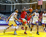 Stony Brook defeats UAlbany  69-60 in the America East Conference tournament quaterfinals at the  SEFCU Arena, Mar. 3, 2018.  Elijah Olanlyl (#3).