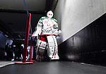 Stockholm 2014-09-27 Ishockey Hockeyallsvenskan AIK - Mora IK :  <br /> Moras m&aring;lvakt Dan Bakala p&aring; v&auml;g ut fr&aring;n omkl&auml;dningsrummet inf&ouml;r tredje perioden i matchen mellan AIK och Mora <br /> (Foto: Kenta J&ouml;nsson) Nyckelord:  AIK Gnaget Hockeyallsvenskan Allsvenskan Hovet Johanneshovs Isstadion Mora MIK portr&auml;tt portrait inomhus interi&ouml;r interior