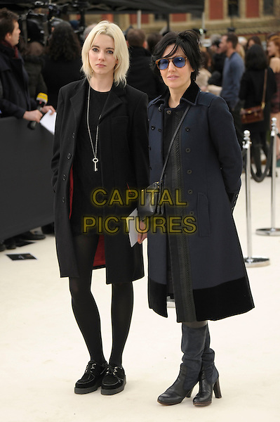 Karen Anne of Ramona & Sharleen Spiteri .Burberry Autumn Winter 2012 arrivals, London Fashion Week, Kensington Gardens, London, England 20th February 2012 .full length black grey gray coat dress tights boots.CAP/PL.©Phil Loftus/Capital Pictures.
