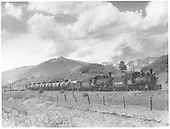 Leased D&amp;RGW #340 with RGS #455 double-heading a freight near MP 144.  Note there are seven tank cars probably heading for Farmington.<br /> RGS  Hesperus, CO  Taken by Perry, Otto C. - 6/14/1942
