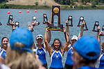 MAY 28, 2016: Wellesley rowing teams celebrates the Dlll National Championship at Lake Natoma in Gold River, Ca. on Saturday May 28, 2016.