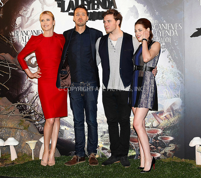 WWW.ACEPIXS.COM . . . . .  ..... . . . . US SALES ONLY . . . . .....May 17 2012, Madrid....Charlize Theron, Rupert Sanders, Sam Claflin and Kristen Stewart at a photocall for 'Snow White and the Huntsman' on May 17 2012 in Madrid....Please byline: FAMOUS-ACE PICTURES... . . . .  ....Ace Pictures, Inc:  ..Tel: (212) 243-8787..e-mail: info@acepixs.com..web: http://www.acepixs.com