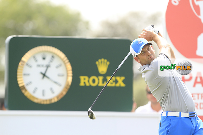 Sergio Garcia (ESP) on the 10th tee during Round 1 of the Open de Espana  in Club de Golf el Prat, Barcelona on Thursday 14th May 2015.<br /> Picture:  Thos Caffrey / www.golffile.ie