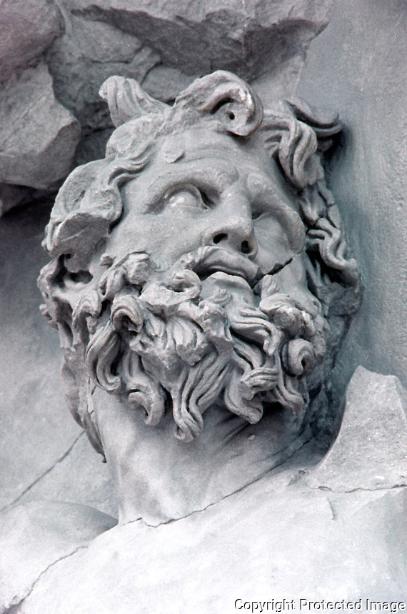 Greek Art:  Detail of Zeus in relief panel. East frieze of altar of Pergamon.