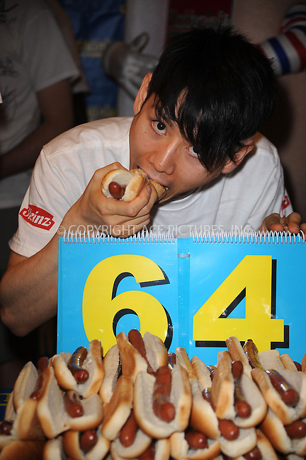 WWW.ACEPIXS.COM . . . . . ....July 2 2009, New York City....Former Nathans Famous Hot Dog Eating ChampionTakeru Kobayashi at the official weigh-in ceremony for the 94th Annual Nathan's Famous Fourth of July International Hot Dog-Eating Contest at Macys Herald Square on July 2, 2009 in New York City.....Please byline: KRISTIN CALLAHAN - ACEPIXS.COM.. . . . . . ..Ace Pictures, Inc:  ..tel: (212) 243 8787 or (646) 769 0430..e-mail: info@acepixs.com..web: http://www.acepixs.com