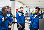 FK Trakai v St Johnstone…05.07.17… Europa League 1st Qualifying Round 2nd Leg<br />St Johnstone midfielder Blair Alston jokes with Richie Foster, David Wotherspoon and Chris Millar as they wait in the check-in line for the flight to Vilnius in Lithuania at Edinburgh Airport<br />Picture by Graeme Hart.<br />Copyright Perthshire Picture Agency<br />Tel: 01738 623350  Mobile: 07990 594431