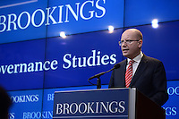 Washington, DC - March 31, 2016: Czech Republic Prime Minister Bohuslav Sobotka speaks about the future of the European Union at the Brookings Institution in the District of Columbia, March 31, 2016.  (Photo by Don Baxter/Media Images International)
