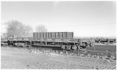 3/4 view of D&amp;RGW flatcar #1026 at Alamosa.<br /> D&amp;RGW  Alamosa, CO  Taken by Richardson, Robert W. - 11/1951