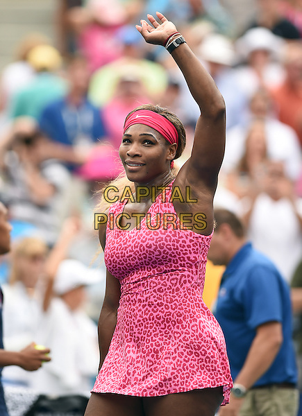 FLUSHING NY- AUGUST 30:  Serena Williams Vs. Varvara Lepchenko on Arthur Ashe Stadium at the USTA Billie Jean King National Tennis Center. Serena Williams waves to the crowd after Williams defeated Lepchenko in striaght sets on August 30, 2014 in Flushing Queens. <br /> CAP/MPI/MPI04<br /> &copy;MPI04/MPI/Capital Pictures