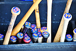 10 March 2012: A collection of New York Mets baseball bats are ready for use in a Spring Training game against the Washington Nationals at Space Coast Stadium in Viera, Florida. The Nationals defeated the Mets 8-2 in Grapefruit League play. Mandatory Credit: Ed Wolfstein Photo