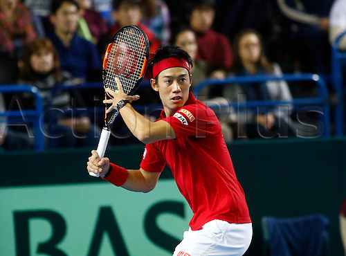 06.03.2016. Barclaycard Arena, Birmingham, England. Davis Cup Tennis World Group First Round. Great Britain versus Japan. Japan's Kei Nishikori hits a forehand from the baseline during his singles match against Great Britain's Andy Murray on day 3 of the tie.