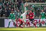 13.04.2019, Weser Stadion, Bremen, GER, 1.FBL, Werder Bremen vs SC Freiburg, <br /> <br /> DFL REGULATIONS PROHIBIT ANY USE OF PHOTOGRAPHS AS IMAGE SEQUENCES AND/OR QUASI-VIDEO.<br /> <br />  im Bild<br /> <br /> Christian G&uuml;nter / Guenter (SC Freiburg #30)<br /> Davy Klaassen (Werder Bremen #30)<br /> Dominique Heintz (SC Freiburg #23)<br /> <br /> <br /> Foto &copy; nordphoto / Kokenge
