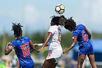 Bradenton, FL - Sunday, June 12, 2018: Melchie Dumonay, Teni Akindoju, Angeline Gustave prior to a U-17 Women's Championship 3rd place match between Canada and Haiti at IMG Academy. Canada defeated Haiti 2-1.