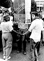 A student protest at the University of Witwatersrand against the banning of various anti apartheid organisations.