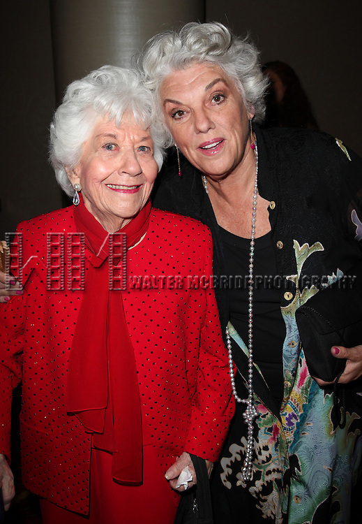 Charlotte Rae & Tyne Daly.attending the Actors Fund Gala honoring Harry Belafonte, Jerry Stiller, Anne Meara & David Steiner at the Mariott Marquis Hotel in New York City on 5/21/12