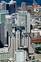 historical aerial photograph of the San Francisco Marriott Marquis Hotel,  the San Francisco Museum of Modern Art, and adjacent skyscapers, San Francisco, California, 2006
