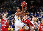 BROOKINGS, SD - FEBRUARY 4:  Alexis Alexander #1 from South Dakota State takes the ball to the basket against the University of South Dakota during their game Saturday afternoon at Frost Arena in Brookings. (Photo by Dave Eggen/Inertia)