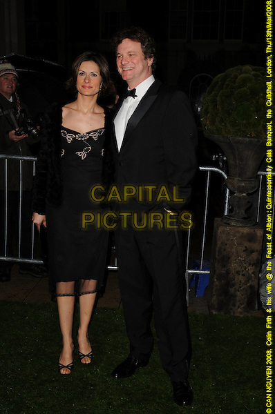 LIVIA GUIGGIOLI & COLIN FIRTH.Feast Of Albion Quintessentially Gala Banquet, The Guildhall, London, England, March 13th 2008..full length black dress wife husband.CAP/CAN.©Can Nguyen/Capital Pictures
