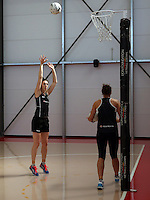 18.10.2015 Silver Ferns Bailey Mes trains for their upcoming netball test match against Australia in Christchurch. Mandatory Photo Credit ©Michael Bradley.