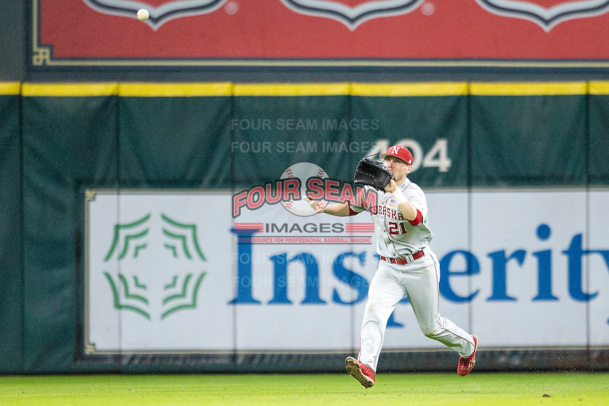 Nebraska Cornhuskers outfielder Ryan Boldt (21) makes a running catch during the Houston College Classic against the LSU Tigers on March 8, 2015 at Minute Maid Park in Houston, Texas. LSU defeated Nebraska 4-2. (Andrew Woolley/Four Seam Images)