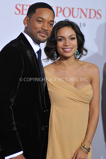WWW.ACEPIXS.COM . . . . . ....December 16 2008, LA....Actors Rosario Dawson and Will Smith at the premiere of Columbia Pictures' 'Seven Pounds' at Mann's Village Theatre on December16, 2008 in Hollywood, California.....Please byline: JOE WEST- ACEPIXS.COM.. . . . . . ..Ace Pictures, Inc:  ..(646) 769 0430..e-mail: info@acepixs.com..web: http://www.acepixs.com