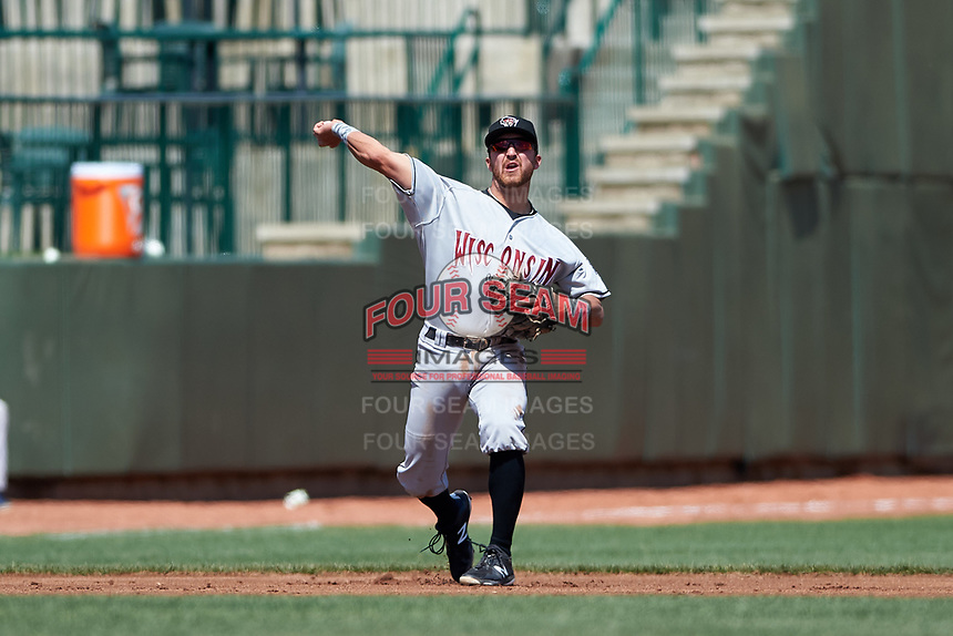 Wisconsin Timber Rattlers third baseman Connor McVey (6) throws to first base during a Midwest League game against the Great Lakes Loons at Dow Diamond on May 4, 2019 in Midland, Michigan. Great Lakes defeated Wisconsin 5-1. (Zachary Lucy/Four Seam Images)