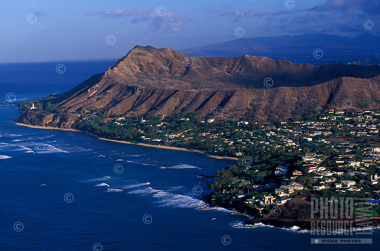 Aerial of the backside of Diamond Head crater showing black point on the Island of Oahu.