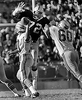 Raiders John Matuszak on top of Seattle Seahawks  <br />