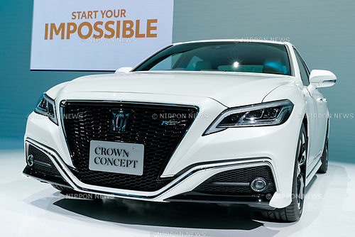 The new Toyota Crown Concept vehicle on display during the 45th Tokyo Motor Show 2017 in Tokyo Big Sight on October 25, 2017, Tokyo, Japan. Tokyo Motor Show 2017 will showcase new mobility solutions from over 153 Japanese and overseas automakers. The exhibition is open to the public from October 26 to November 5. (Photo by Rodrigo Reyes Marin/AFLO)
