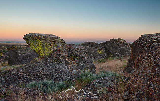 Idaho, South Central, Gooding. The Little City of Rocks in the evening twilight of late spring.