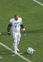 Offensive guard Jesse Davis (77) of the Miami Dolphins - 08.12.2019: New York Jets vs. Miami Dolphins, MetLife Stadium New York