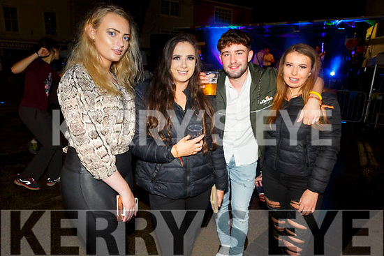 IT Tralee students Rachel Hannon, Zoe Cuddy, Shona Gallithan and Steven Fagan enjoying the Freshers Fest in the Square on Tuesday night