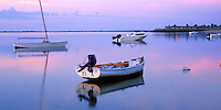 Cape Cod National Seashore, MA <br /> Small boats with reflections on Provincetown Harbor in dawn light