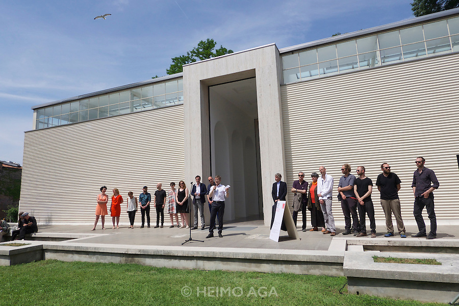 Venice, Italy. 14th Architecture Biennale 2014, &quot;fundamentals&quot;.<br /> Giardini.<br /> Minister Josef Ostermayer at the official opening of Austrian Pavillion.<br /> &quot;Plenum. Places of Power&quot; by Aub&ouml;ck + K&aacute;r&aacute;sz, Landschaftsarchitekten, Architekten<br /> KOLLEKTIV/RAUSCHEN,<br /> Wolf D. Prix, COOP HIMMELB(L)AU,<br /> Harald Trapp.