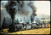 D&amp;RGW #492 K-37 and #490 K-37 with 2 cabooses, passenger car - excursion train.<br /> D&amp;RGW  Marshall Pass ?, CO
