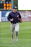 Cedar Rapids Kernels left fielder Jacob Pearson (2) jogs off the field between innings of a Midwest League game against the Kane County Cougars at Northwestern Medicine Field on April 28, 2019 in Geneva, Illinois. Cedar Rapids defeated Kane County 3-2 in game two of a doubleheader. (Zachary Lucy/Four Seam Images)