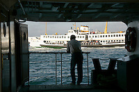 Passenger on a ferry boat, Istanbul, Turkey