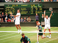 1998, Tennis, Wimbledon , Jacco Eltingh and Paul Haarhuis (R) celebrate winning Wimbledon 1998 by defeating the Woody's