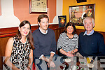 BIG FOUR 0: Michael Horgan, The Spa, Tralee who celebrated his 40th birthday on Saturday by dining out in Cassidy's, Tralee, before finishing off the celebrations in Jess McCarthy's bar, later that night, pictured here with his parents May and John and sister Madeline McCarthy.