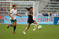 FC Gold Pride forward Marta (10) controls the ball in front of Red Stars midfielder Casey Nogueira (27).  The FC Gold Pride defeated the Chicago Red Stars 3-2 at Toyota Park in Bridgeview, IL on August 22, 2010