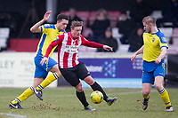 Double goalscrorer George Purcell of AFC Hornchurch cuts inside to try and create an opening during AFC Hornchurch vs Haringey Borough, Bostik League Division 1 North Football at Hornchurch Stadium on 10th February 2018