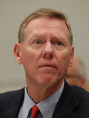 """Washington, DC - December 5, 2008 -- Alan Mulally, President and Chief Executive Officer, Ford Motor Company, appears at the United States House Financial Services Committee hearing """"On review of industry plans to stabilize the financial condition of the American automobile industry""""  in Washington, D.C. on Friday, December 5, 2008.  He was there with other automotive industry leaders to request $35 billion in loans from Congress to insure their company's survival..Credit: Ron Sachs / CNP"""