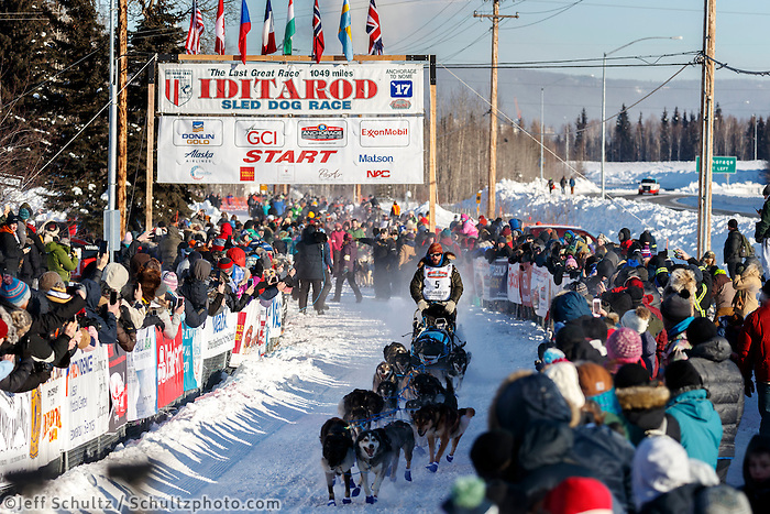 Cody Strathe leaves the re-start line of the 2017 Iditarod in Fairbanks, Alaska at Pike's Landing on Monday March 6, 2017.<br /> <br /> Photo by Jeff Schultz/SchultzPhoto.com  (C) 2017  ALL RIGHTS RESVERVED