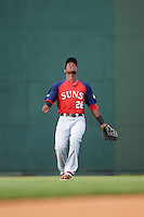 Hagerstown Suns outfielder Dale Carey (20) tracks a fly ball during a game against the Lexington Legends on May 22, 2015 at Whitaker Bank Ballpark in Lexington, Kentucky.  Lexington defeated Hagerstown 5-1.  (Mike Janes/Four Seam Images)