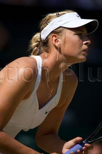June 28th 2010: Wimbledon International Tennis Tournament held at the All England Lawn Tennis Club, London, England, Maria Sharapova of Russia playing  Serena Williams of USA in the 4th round