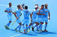 India players celebrate opening the scoring during the Hockey World League Semi-Final match between Pakistan and India at the Olympic Park, London, England on 18 June 2017. Photo by Steve McCarthy.