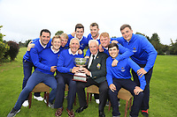 GUI President John Moloughney presents the trophy to Michael Coote and the munster team at the finals of the Interprovincial Championship 2018, Athenry golf club, Galway, Ireland. 31/08/2018.<br /> Picture Fran Caffrey / Golffile.ie<br /> <br /> All photo usage must carry mandatory copyright credit (© Golffile | Fran Caffrey)