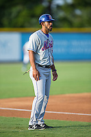 Kingsport Mets manager Luis Rivera (9) coaches third base during the game against the Burlington Royals at Burlington Athletic Stadium on July 18, 2016 in Burlington, North Carolina.  The Royals defeated the Mets 8-2.  (Brian Westerholt/Four Seam Images)